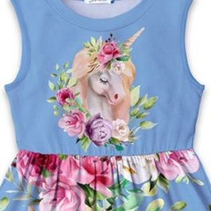 Dresses - 🦄 Blue Floral Unicorn A-Line Girls Dress 🦄